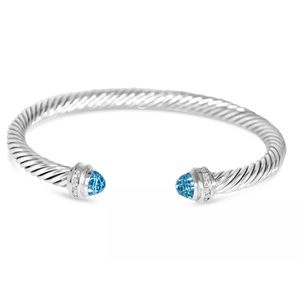 DAVID YURMAN 5MM BLUE TOPAZ DIAMOND SS BRACELET